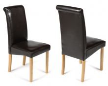 Pair of Brown Roma Faux Leather Chairs with Oak Legs 1/2 Price Deal
